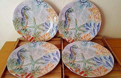 Coastal Seahorse Melamine Dinner Plates Set of 4 & Coastal Seahorse Melamine Dinner Plates Set of 4   Coastal ...