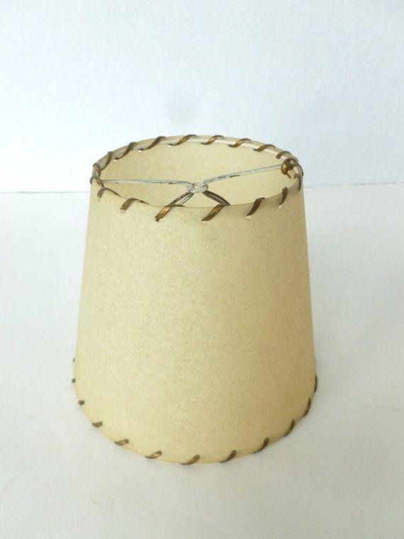 Fiberglass lamp shade whipstitched in gold lacing clip on bulb vintage fiberglass lamp shade whipstitched in gold by bornatthewrongtime 1900 lampshade retro midcentury midcenturymod homedecor aloadofball Images