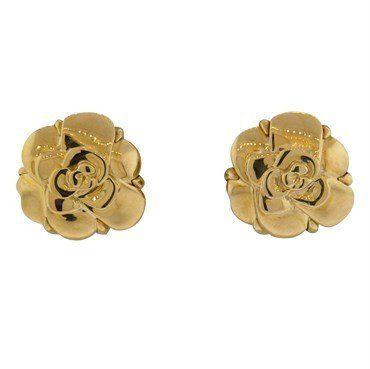 Chanel 18k Gold Camellia Flower Earrings Flower Earrings Camellia Flower Camellia