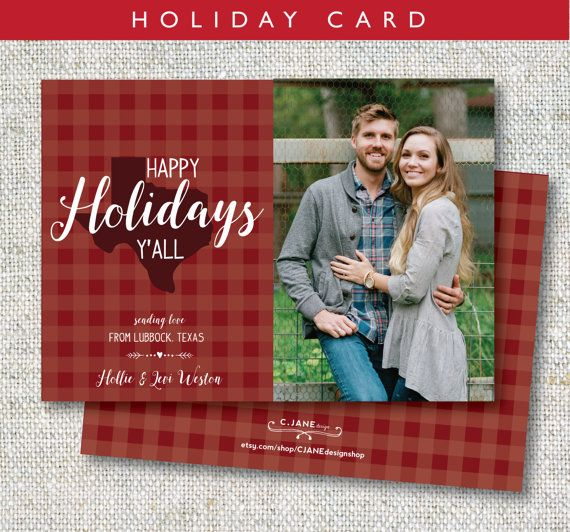 Happy Holidays Y'all! Southern charm Christmas card : C.Jane Design