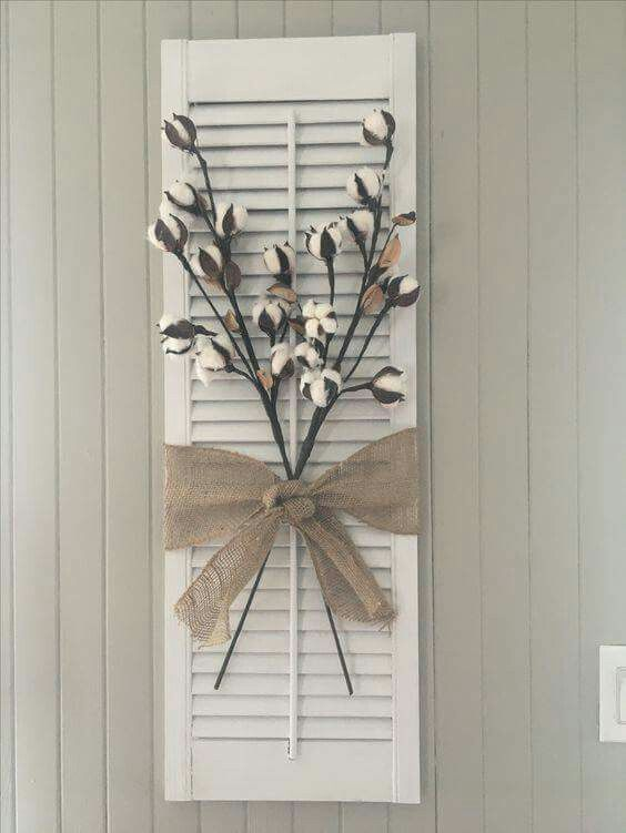 Simple And Cute Ideas Using Cotton Stems This Wall Decor Would Be Perfect In My Kitchen Shutter Decor Diy Shutters Decor