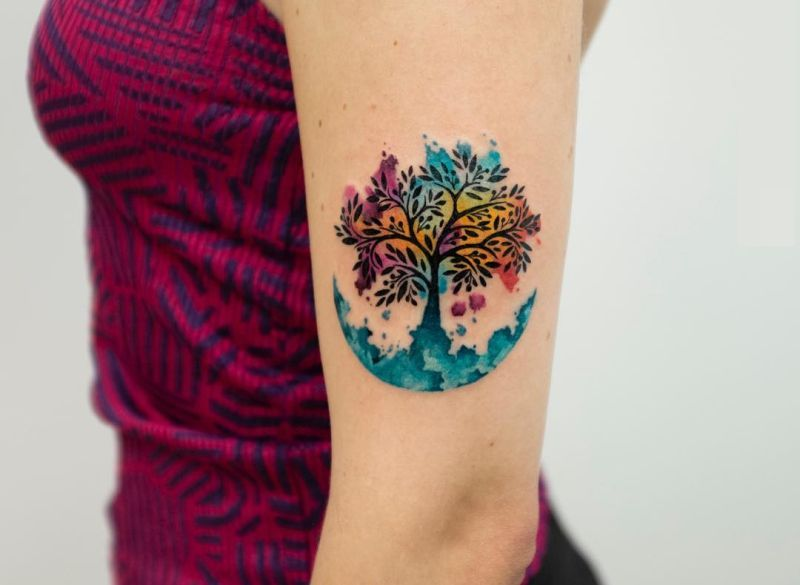 Watercolor Tree Of Life Tattoo By Koray Karagozler 2 Kickass