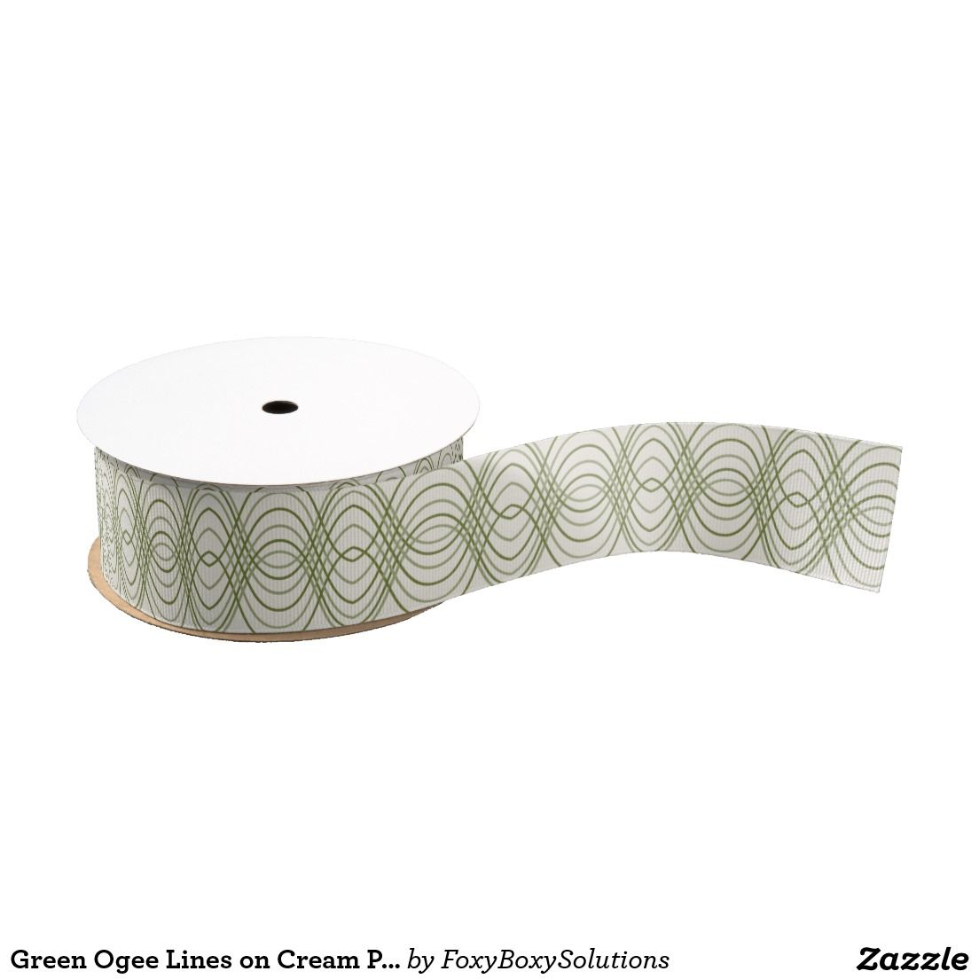 Green Ogee Lines on Cream Pattern Ribbon
