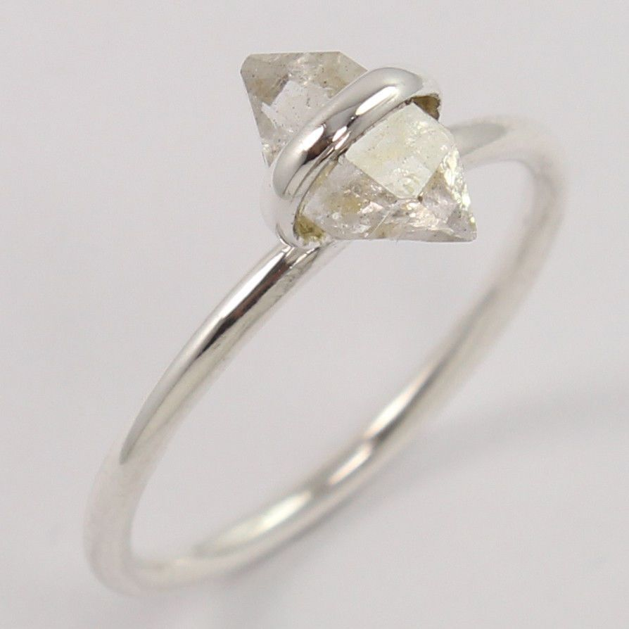 Solid 925 Sterling Silver Natural HERKIMER DIAMOND Wedding Ring Size US 7.75 NEW #Unbranded