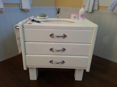 18 Doll Bathroom Sink Vanity Tutorial American Girl Furniture American Girl Doll House American Girl Doll Diy