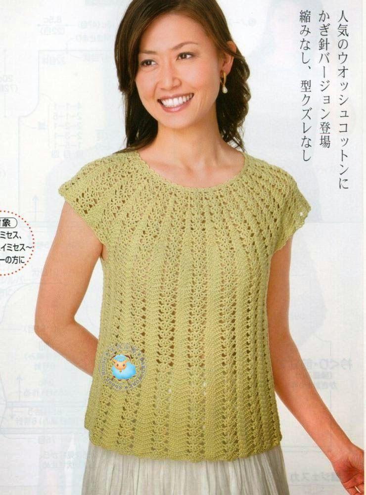 Maravilhas do Crochê: Blusinhas de Verão_Modelo Japonês | Crochet ...