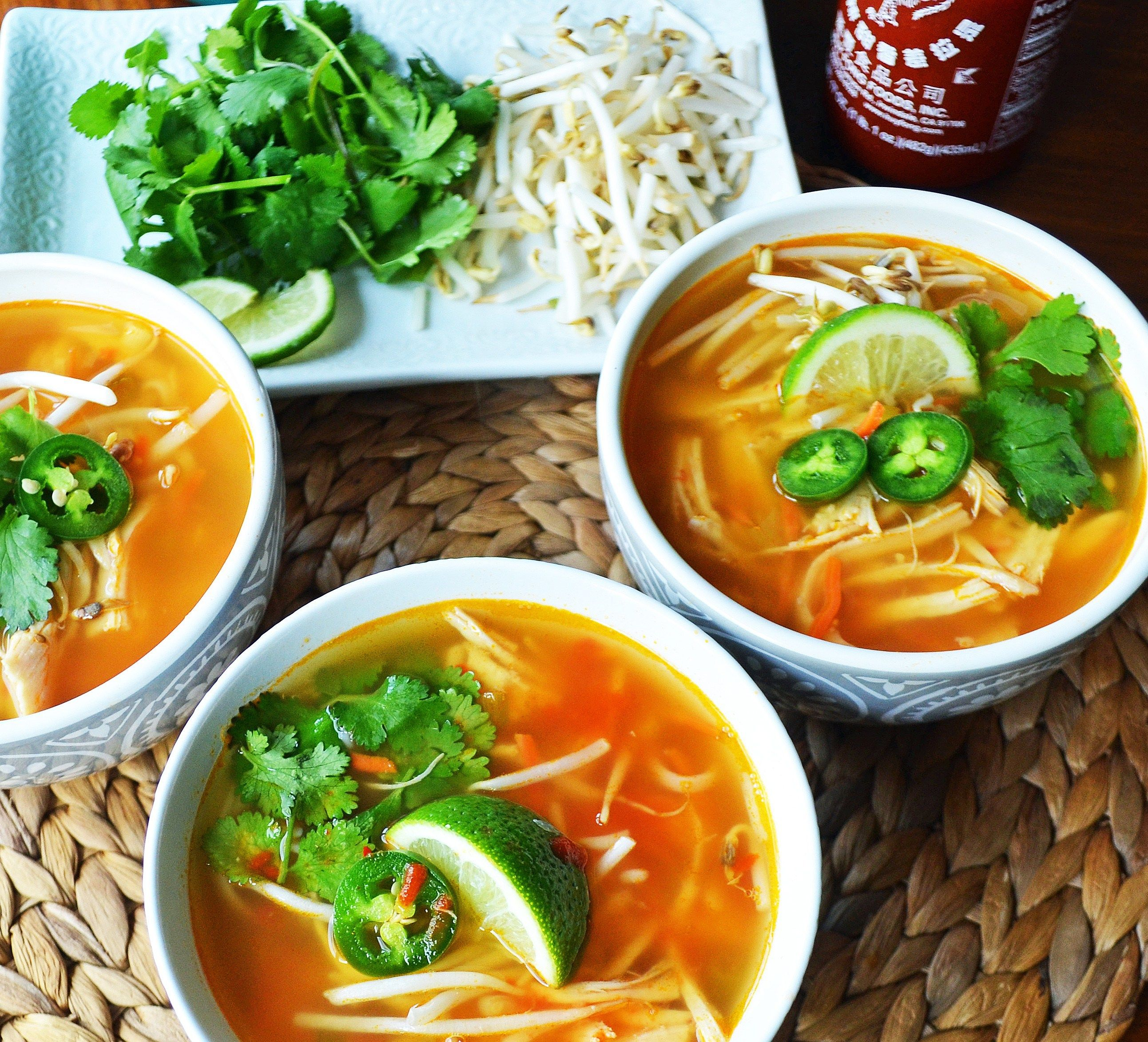 Dinner Ideas With Chicken Stock: Phony Pho Chicken Broth Bowls