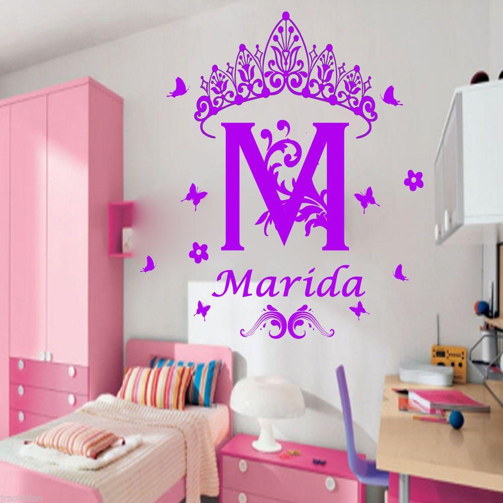 Custom Name Monogram Princess Crown Nursery Girls Vinyl Stickers - Custom vinyl stickers for girls