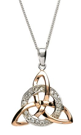 Celtic trinity knot necklace in rose gold and silver made in ireland celtic trinity knot necklace in rose gold and silver made in ireland aloadofball Choice Image