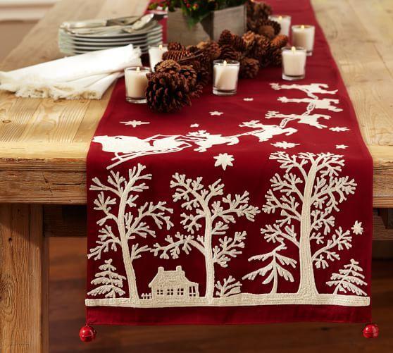 Sleigh Bell Crewel Embroidered Table Runner Gray Christmas Table Runner Embroidered Table Runner Christmas Table