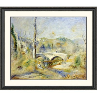 Global Gallery 'Landscape with Bridge' by Pierre-Auguste Renoir Framed Painting Print Size: