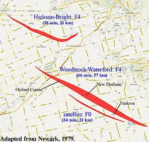 On the evening of August 7, 1979 at least three tornadoes touched down in  southwestern Ontario, devastating scores of farms and homes in the Woodstock  area.