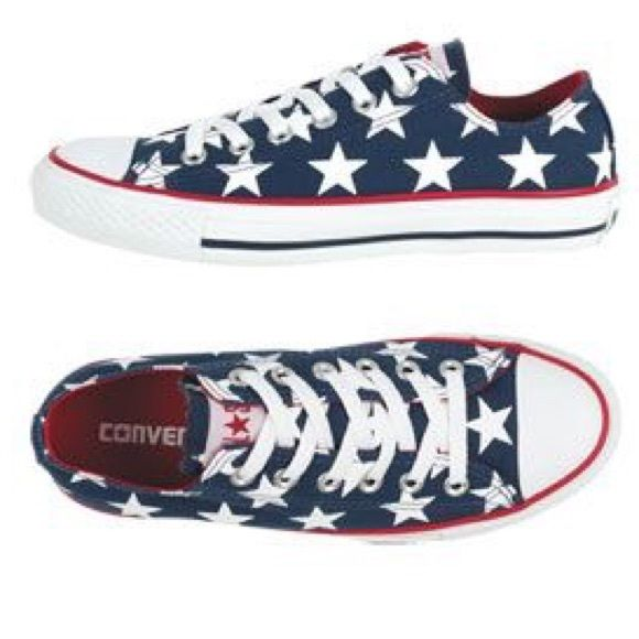 Converse red white and blue star print
