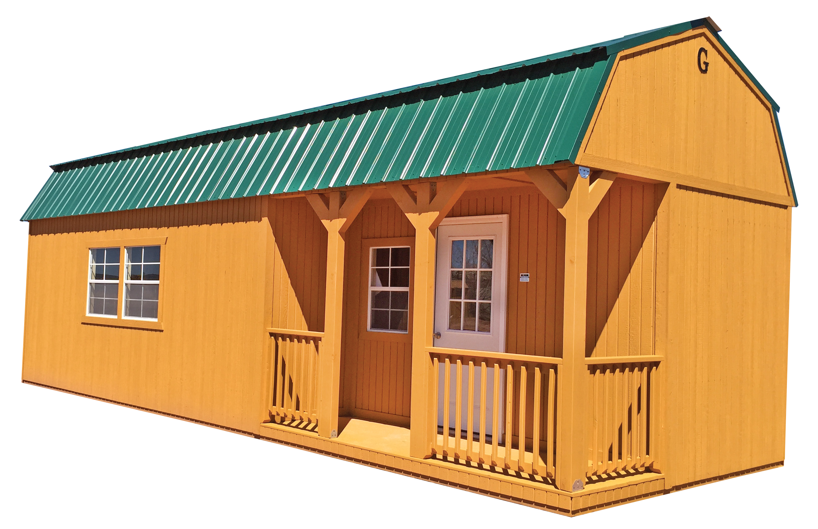 The corner porch lofted barn cabin in our west division for Shed with porch and loft