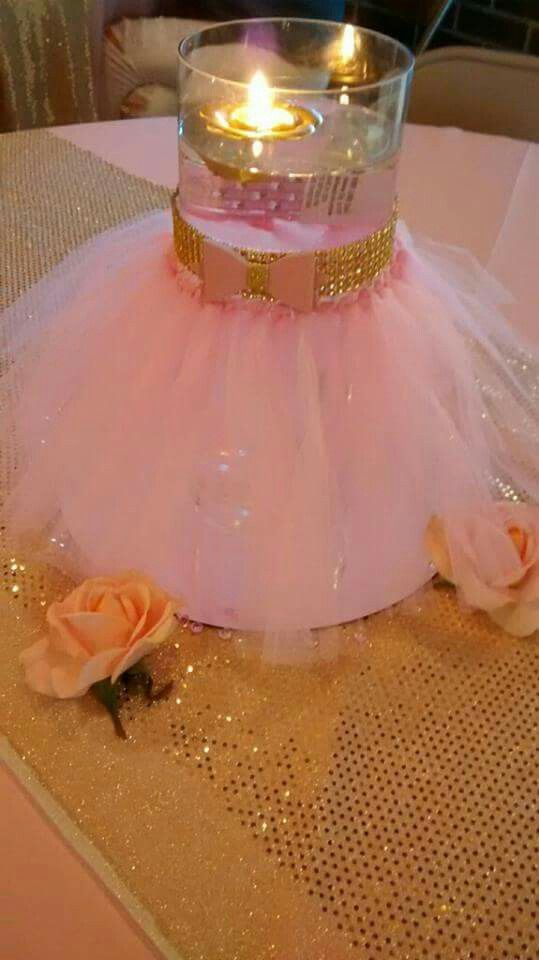 Pink and gold little princess baby shower diy tutu glass for Baby shower centerpiece decoration