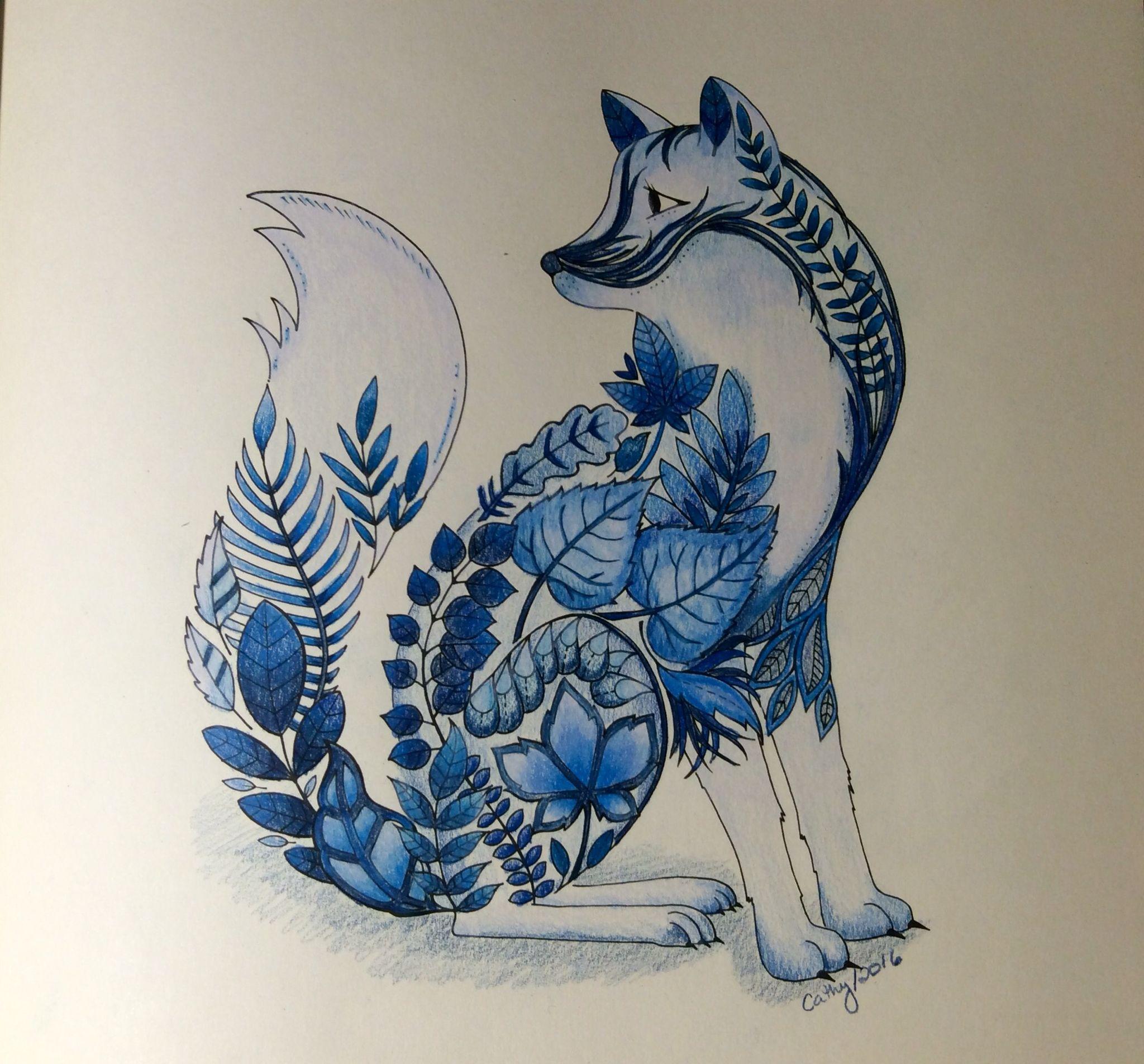 Blue fox. Enchanted Forest, Johanna Basford. cathyc. pencil crayons ...