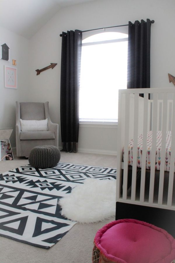 This Black And White Aztec Rug Is Perfect In A Modern Monochrome Nursery