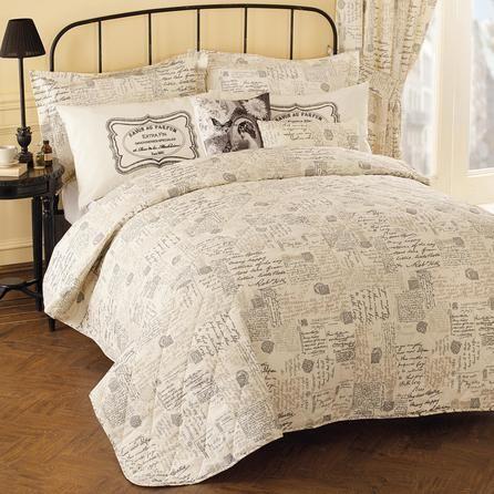 cream vintage paris script collection bedspread dunelm