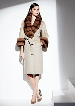 LILLY E VIOLETTA Tan Cashmere Coat with Natural Russian Sable Fur ...