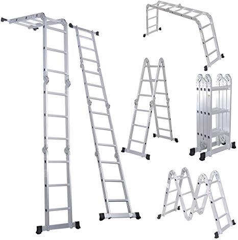 Luisladders Folding Ladder Multi Purpose Aluminium Extension 7 In 1 Step Heavy Duty Combination En 131 Standard 12 Scaffold Ladder Folding Ladder Best Ladder