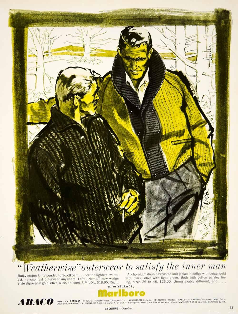 1960 Ad  Vintage Marlboro Knit Jacket Men 60s Fashion Style Outerwear Clothing