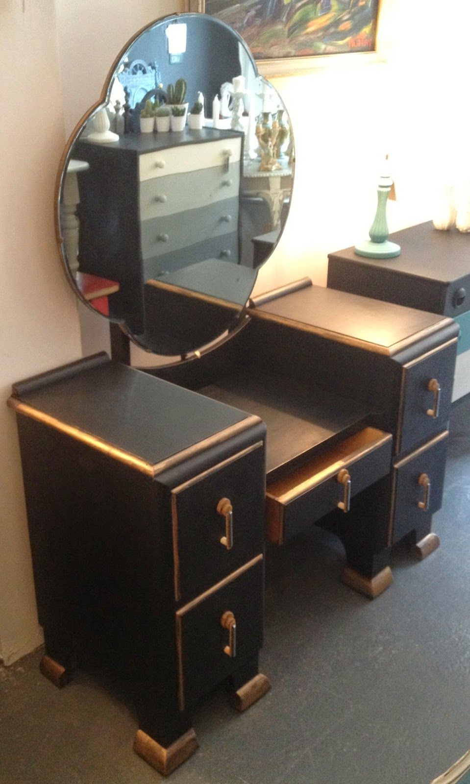 Art Deco Dressing Table Painted Black Gold Art Deco Dressing Table Dressing Table Paint Painted Table