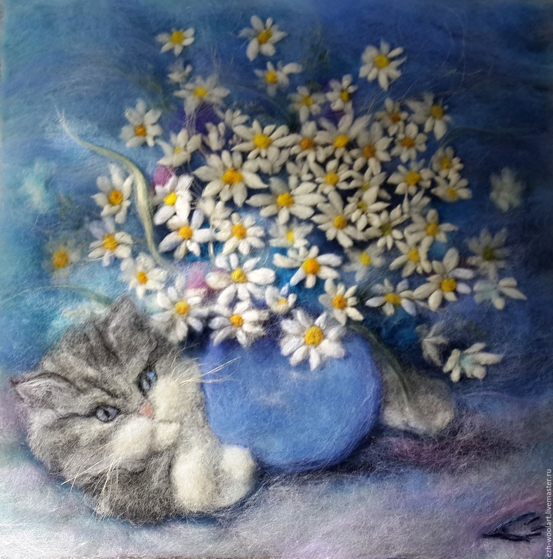 504e94d1a9e52 Картина шерстью Кот Ромашкин (фамилия такая) – купить в интернет-магазине  на Ярмарке