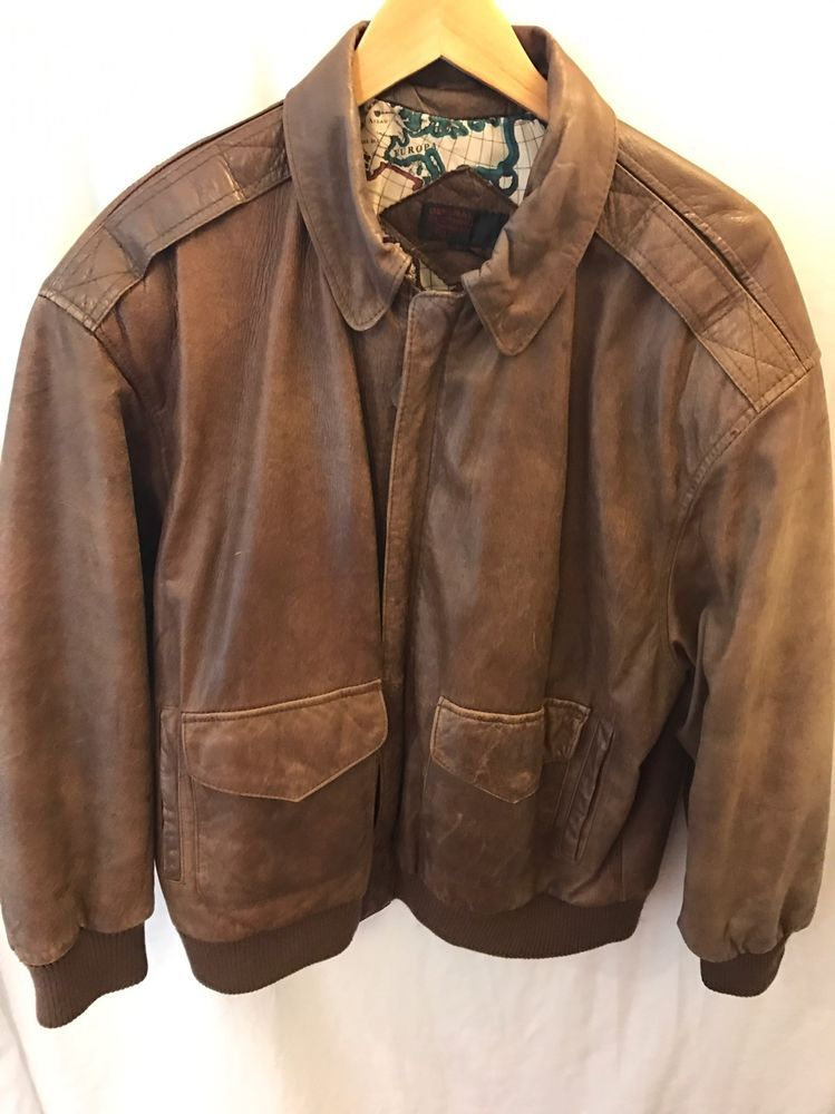 c3caeaa6c1b VTG Distressed Brown Large Leather Bomber Jacket General Clothing Co Map  Lining  GeneralClothingCoLTD  FlightBomber