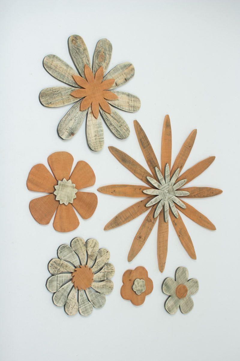 Set Of 6 Wooden Flower Wall Art Wood Flowers Wooden Flowers