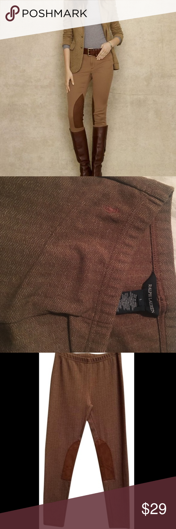 Polo herringbone riding leggings S Never worn. Polo herringbone riding leggings they are a kids size L and will for an XS or a S they are brown herringbone made to look like tweed with suede patches on the inner knees they are super stretchy and soft Polo by Ralph Lauren Pants Leggings