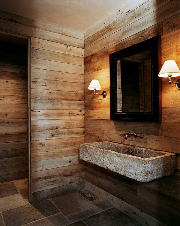vasque en pierre parement mural en bois salle de bains fantastique