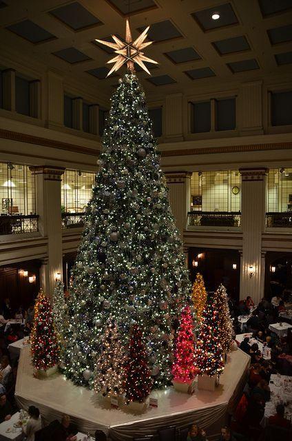 нσ нσ нσ мεяяү cняιsтмαs тяεε 。* 。Christmas Tree in the Walnut Room at Macy's in Chicago