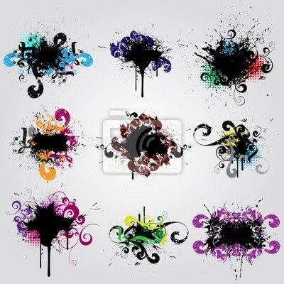Sticker set grunge design element. colorful banner - liquid • PIXERSIZE.com  Top right splatter for a tattoo