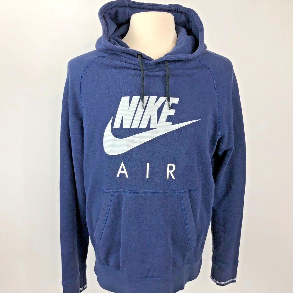 Nike Air Hoodie Sweatshirt Spell Out Big Swoosh Navy Blue Mens Size Large Nike Air Hoodie Sweatshirts Hoodie Hoodies
