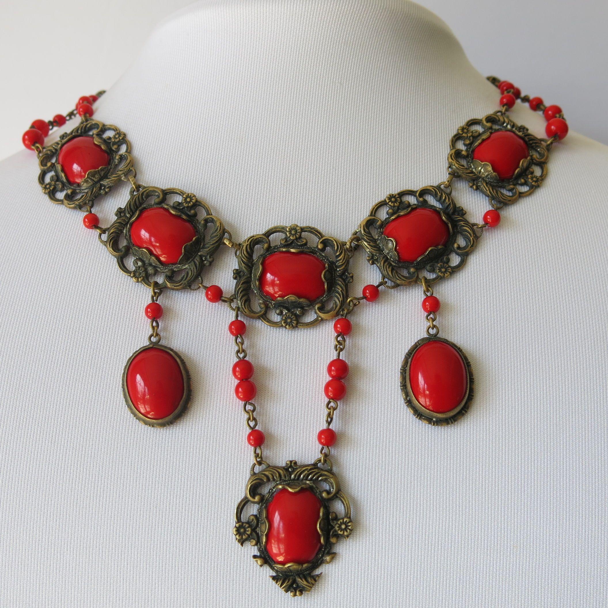 Boho Bohemian Baroque Ruby Red Glass Vintage Style Vintage Black Czech Glass Nouveau Art Deco Style Necklace