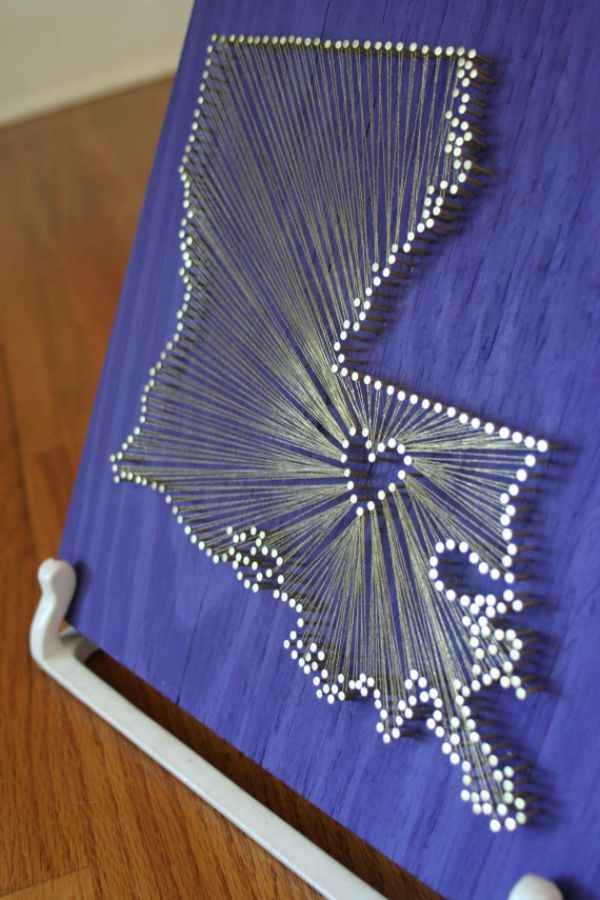 nail and string state plaque string art love nails creative crafts diy. Black Bedroom Furniture Sets. Home Design Ideas