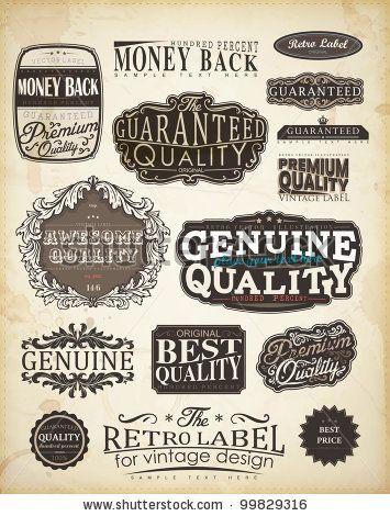 Retro Style Label Collection For Vintage Design Old Paper Texture Background Vintage Labels Vintage Designs Retro