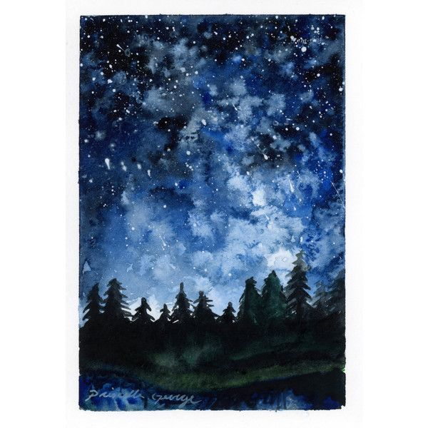 Forest Night watercolor painting PRINT 5x7, 8x10, 11x14 (€25) ❤ liked on Polyvore featuring home, home decor, wall art, blue painting, watercolour painting, water colour painting, forest wall art and water color painting