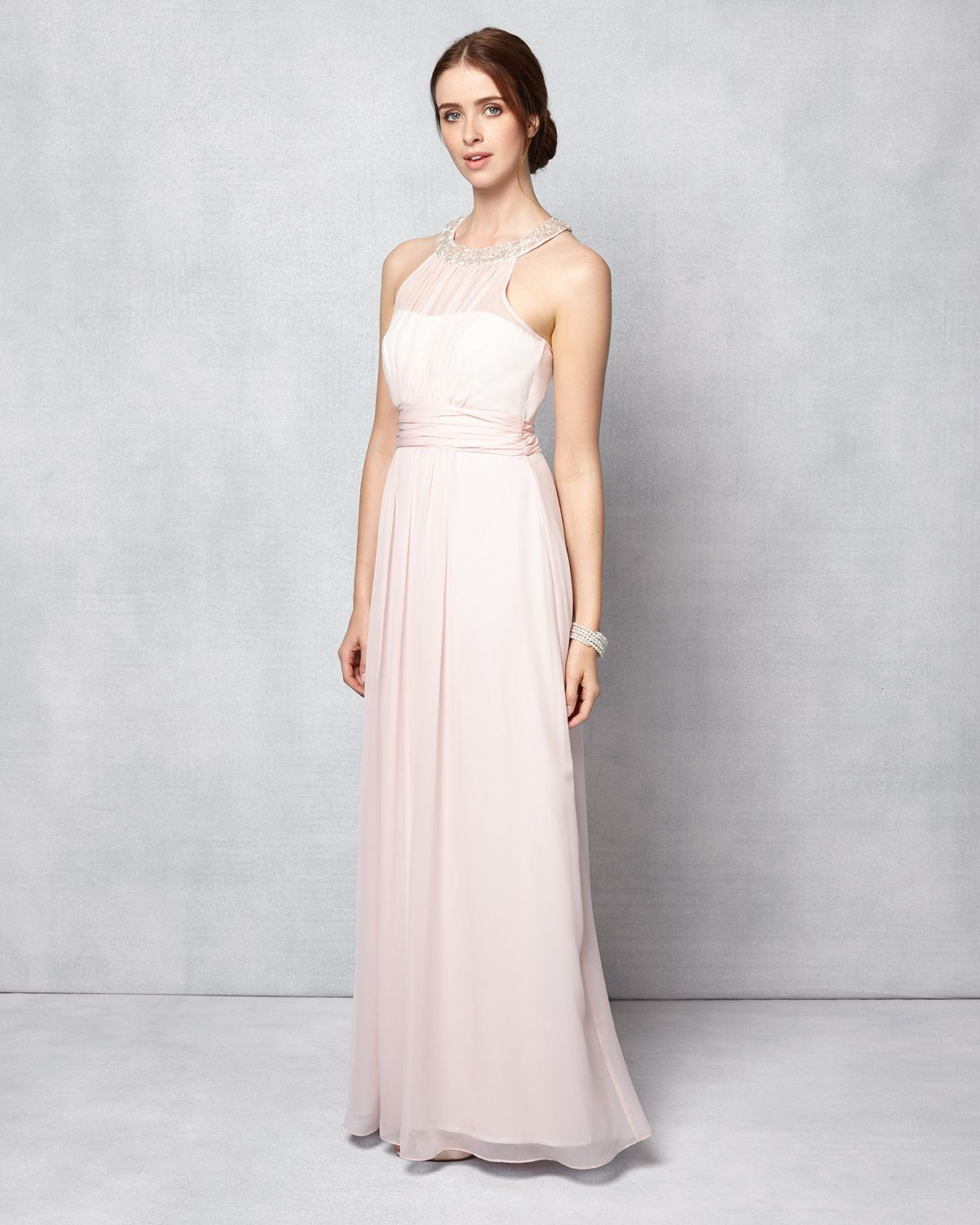 Phase Eight Peyton Beaded Full Length Dress Pink | Brides maid ...