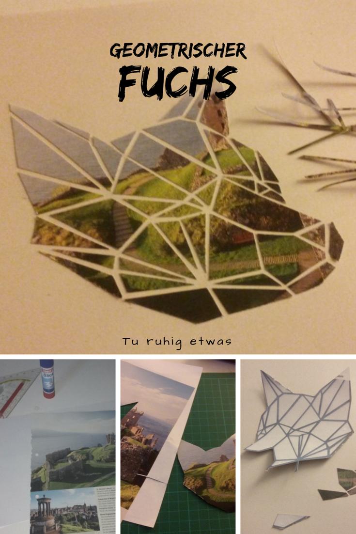 Künstlerisch Collage Basteln Dekoration Von Geometrischer Fuchs / Fuchskopf Als Wandbild -