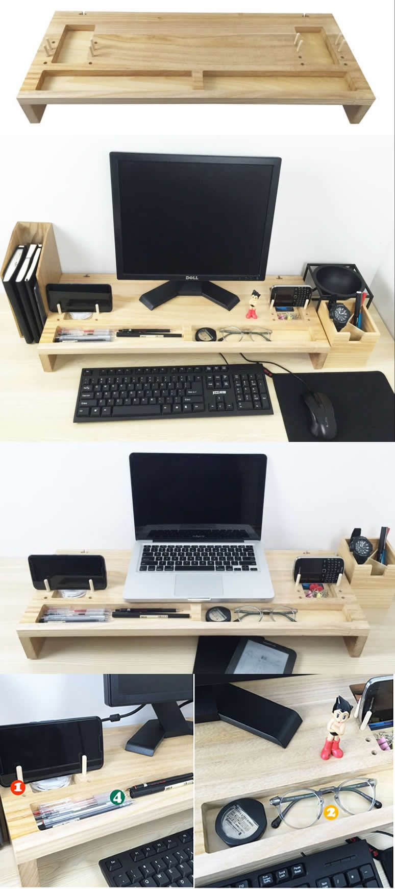 Wood Monitor Imac Stand Holder Laptop Notebook Apple Macbook Mobile Lap Desk Stationery Office Desk Desk Organization Diy Paper Holder Desk Monitor Stand Diy