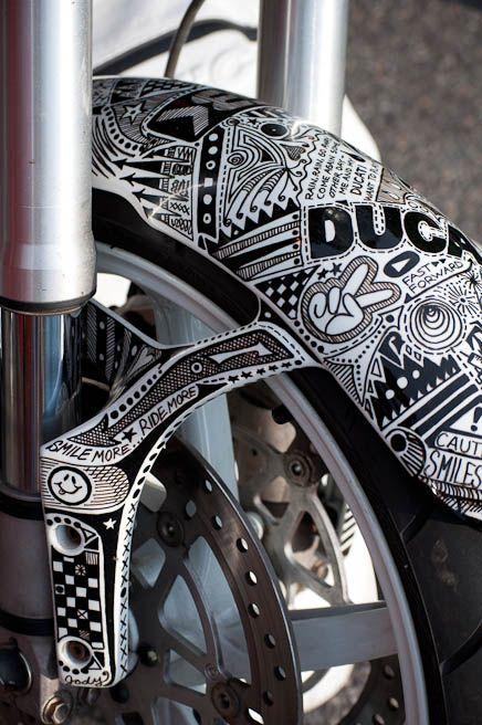 Motorcycle Sharpie Art Sharpie Art Pinterest Sharpie Art - Artist wife doodles husbands car