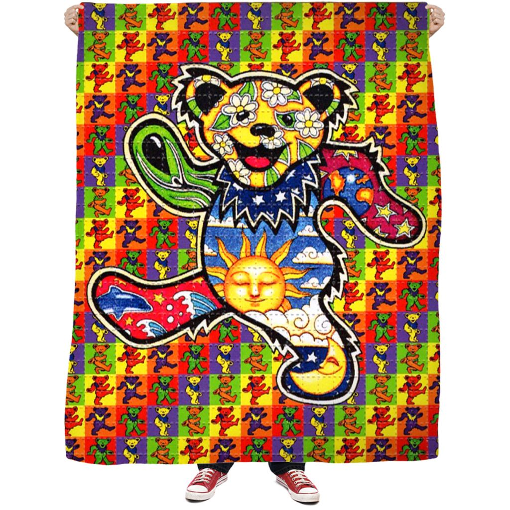 Acid bears fleece blanket psychedelic pinterest