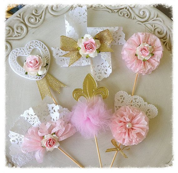 Birthday Decoration  Cupcake Topper Sampler Set of 6 for Birthday Party or Tea Party