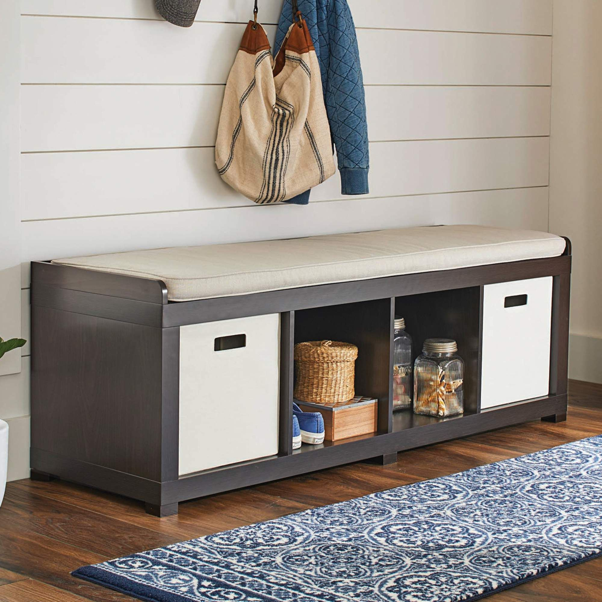 Better Homes And Gardens 4 Cube Organizer Storage Bench Multiple Finishes Walmart Com Cube Storage Bench Storage Bench With Cushion Entryway Bench Storage