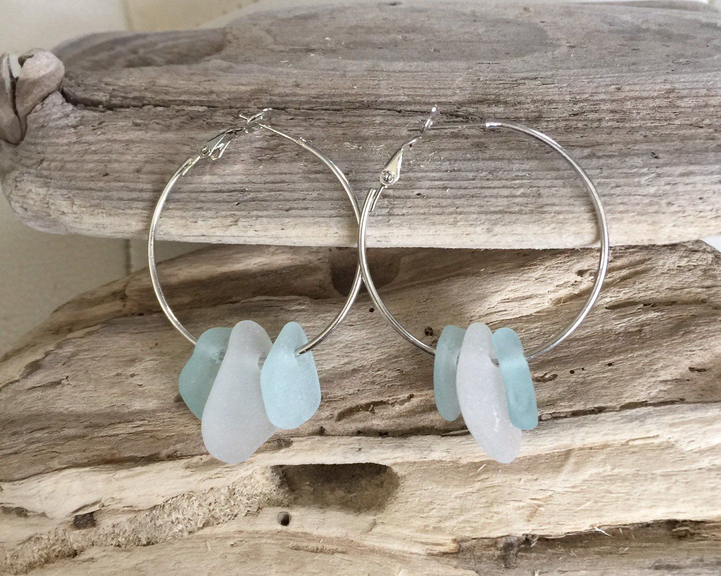 6f684f57caf74 Aqua / blue / white sea glass hoops, multicolor sea glass earrings ...