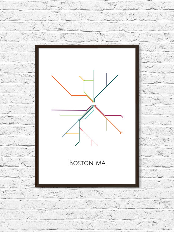 Boston Subway Map Poster.Boston Boston Subway Subway Art Boston Metro Map Boston Map