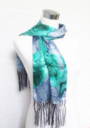 "Satin Green/Blue Floral Print - Silk Fringed Scarf 10.5"" x 54"" (double ply) Silkcharm. $14.95"