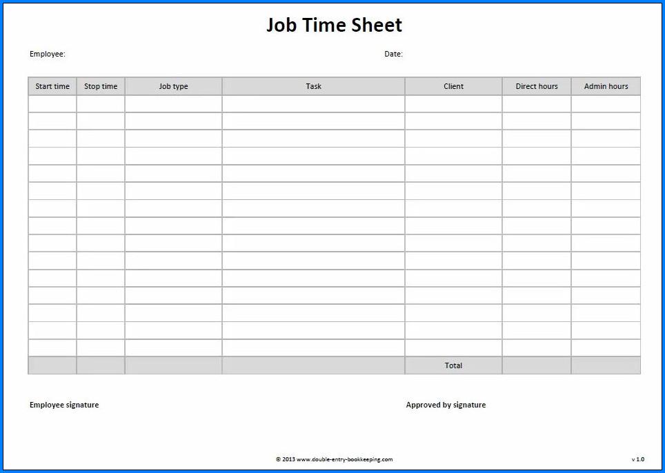 Free Printable Employee Timesheet Template Templateral Timesheet Template Job Cards Business Template