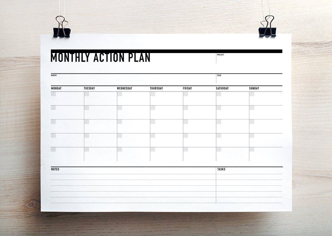 Printable Monthly Action Planner Agenda Landscape
